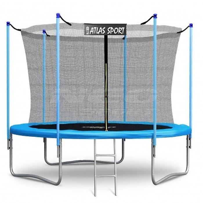 Батут Atlas Sport 252 см (8ft) с внутренней сеткой и лестницей BLUE